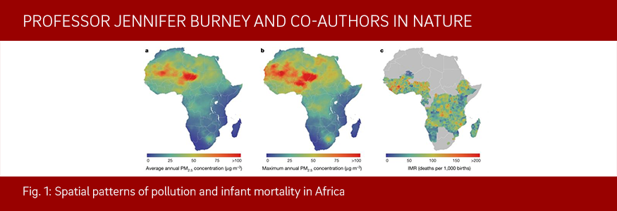 Fig. 1: Spatial patterns of pollution and infant mortality in Africa